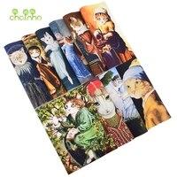 Tela de lona de algodón teñida a mano, 10 diseños de gatos Vintage, costura artesanal, acolchado, monedero, bolsa, cubierta de libro, Material de decoración del hogar, 15x20cm