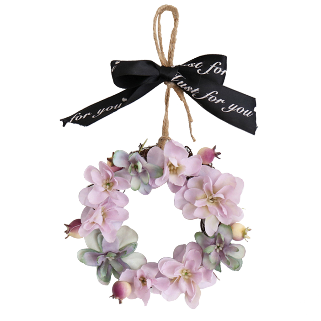 Mini Pink Hydrangea Flower Door Wreath Wall Hanging Spring Floral Home Decor Fall Wreaths For Front Door