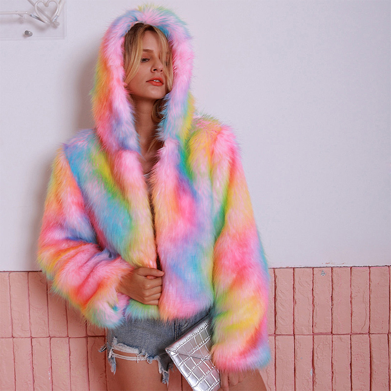 ALLNeon Rainbow Hoodie Open Stitch Faux Fur Overcoats Gradual Color Shaggy Winter Warm Fashion Ladies Outerwear Streetwear 2019 in Faux Fur from Women 39 s Clothing