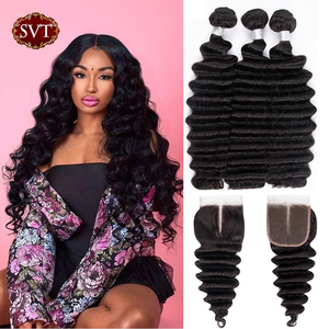 SVT Hair Loose Deep Wave 3 Bundles With Closure 4x4 Brazilian Human Hair Bundles With Closure Middle/Free/Three Part Soft & FUll