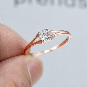 Милые маленькие круглые обручальные кольца с белым цирконием для женщин из стерлингового серебра 925 пробы/розовое золото лабораторное коль...