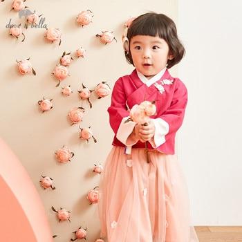 DB12751-T dave bella autumn winter baby girls floral appliques clothing sets kids cute long sleeve sets children 2 pcs suit