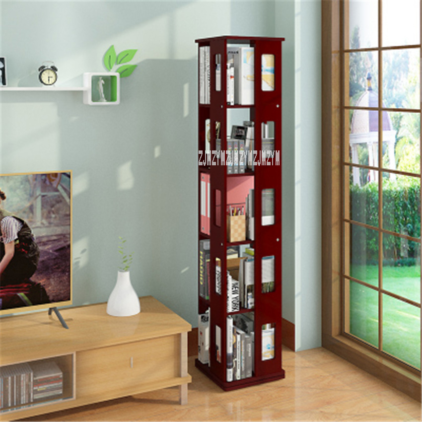Five-storey All-solid Wood Combination Bookshelf 360 Degree Revolvable Capacity Bookshelf Mostly Used For Young Students