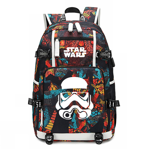 Anime Star Wars Backpack USB Port Hero Rucksack <font><b>Bag</b></font> Snake Pattern Student Teenagers Capacity School Book travel <font><b>mochila</b></font> <font><b>escolar</b></font> image