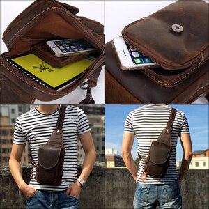 Image 5 - Yüksek kaliteli erkek omuz askılı çanta çılgın at deri göğüs paketi hakiki deri çapraz vücut Vintage erkekler fermuarlı askılı çanta