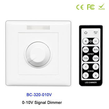 цена на BC-320-010V led Knob style 0-10V Signal Dimmer Controller+IR remote use for led strip light,DC12V-24V