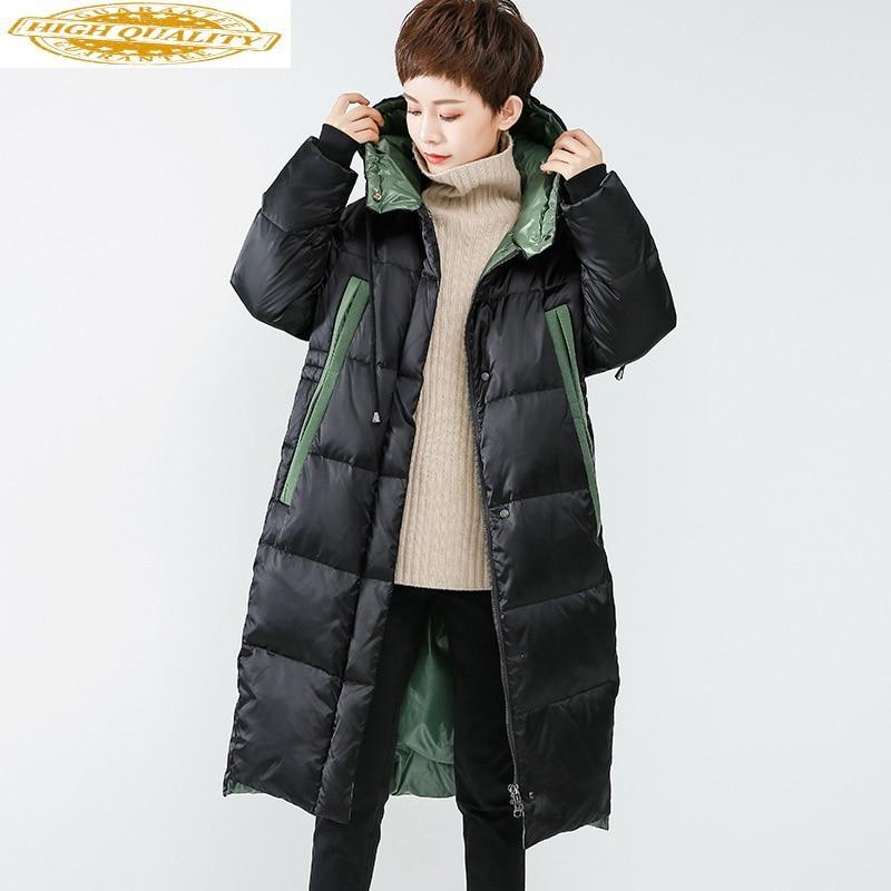 Women's Winter Down Jacket Long White Duck Down Coat Hooded Korean Puffer Jacket Doudoune Femme Hiver WFDY71601 KJ3674