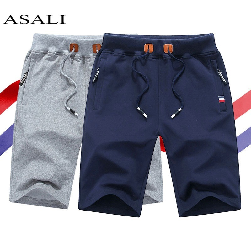 2020 Solid Summer Shorts Men Cotton Stretch Elastic Waist Beach Short Homme Casual Masculino Brand Clothing Male Zipper Pockets