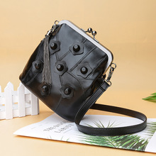 WOMEN'S Leather Bags 2020 New Style Sheepskin Bag Retro Clip Mouth Crossbody Fashion Summer Square Sling Rivet