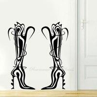 Kreative Design Wand Aufkleber Schuhe für Mädchen Einkaufen Mode Stiefel Stilvolle Shop Fenster Aufkleber Vinyl Innen Decor Wandbild 4813
