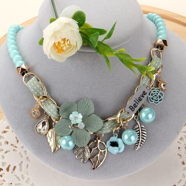ZOSHI nouvelle mode simulé collier de perles pour les femmes colliers de fleurs à la mode colliers et pendentifs déclaration collier bijoux