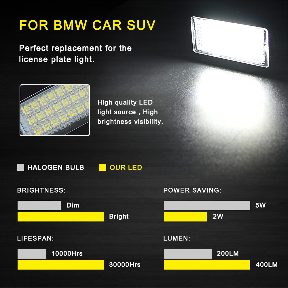 Image 3 - 2 PCS License Plate Light  Led Number Plate Holder Lamp No Error For BMW E39 E60 E60N E61 E90 E91 E90N E92 E93 E46 CSL E82-in License Plate from Automobiles & Motorcycles
