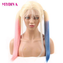 Colored Lace Front Wigs Human Hair Ombre Pink Blue 613 Blonde Lace Front Human Hair Wig Straight 13*4 Transparent Lace Wigs Remy(China)
