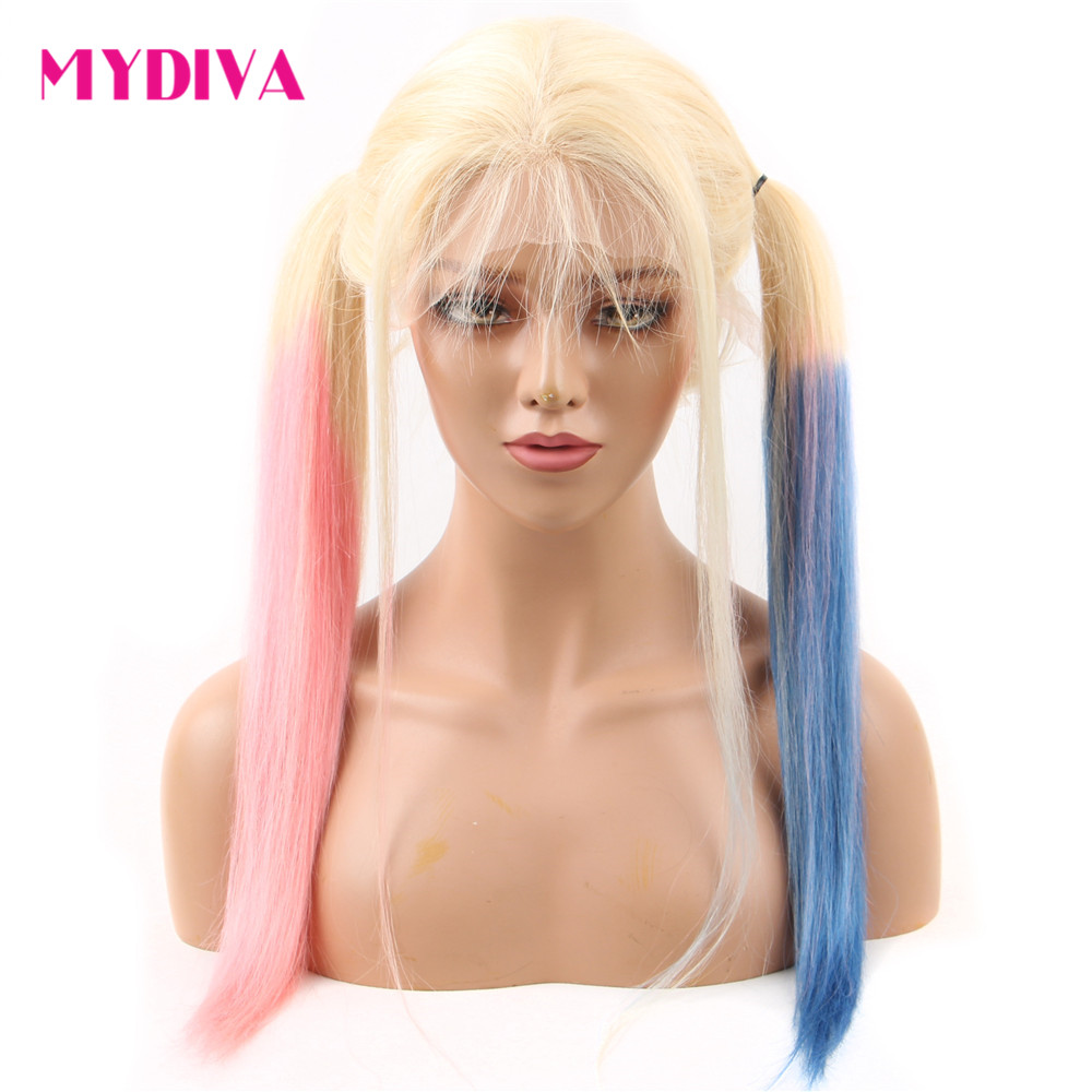 Colored Lace Front Wigs Human Hair Ombre Pink Blue 613 Blonde Lace Front Human Hair Wig Straight 13*4 Transparent Lace Wigs Remy image
