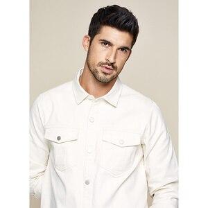 Image 3 - KUEGOU 2019 automne 100% coton épais blanc chemise hommes robe bouton décontracté mince coupe à manches longues pour homme marque de mode Blouse 0224