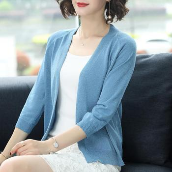 PEONFLY Fashion 2020 Spring Sweater Women Shinny Solid Color Knitted Cardigans Casual Long Sleeve Coat V Neck Women Jumper Blue 1
