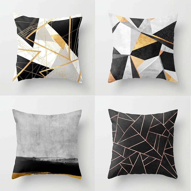 45 * 45cm Pillow Case Simple Geometric Abstract Pattern Printed Polyester Pillowcase Square Decorative Pillowcase