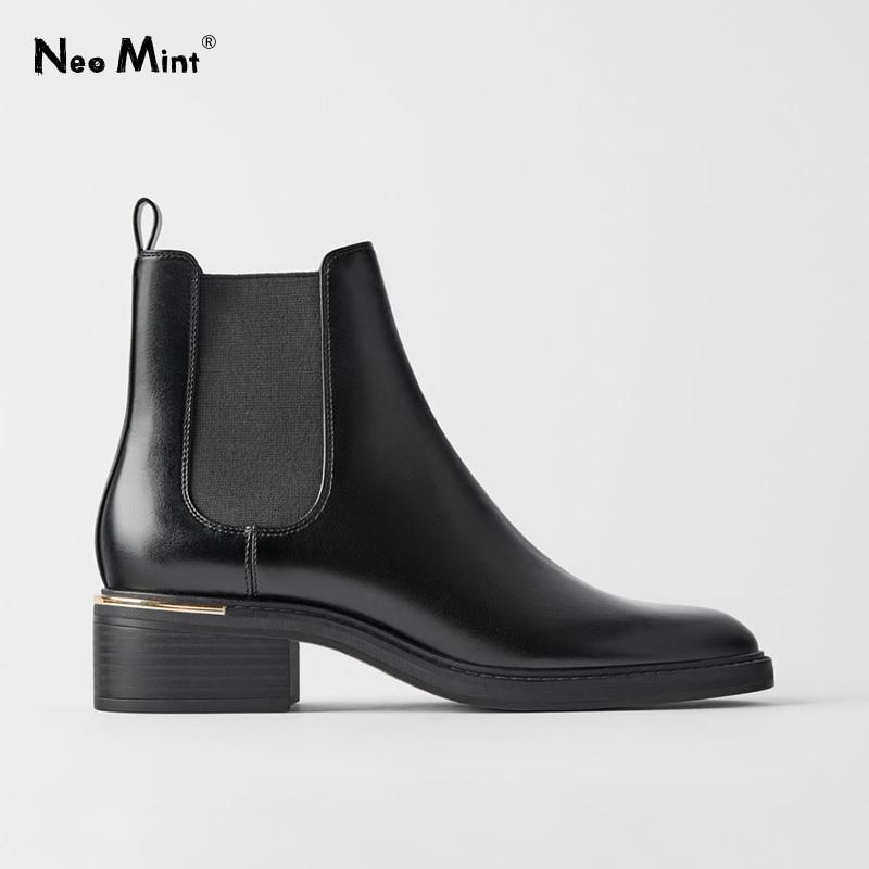 Женские ботинки челси с металлическим украшением, черные кожаные ботинки на среднем каблуке с круглым носком, зимняя обувь, 2020|Полусапожки|   | АлиЭкспресс - Женская обувь