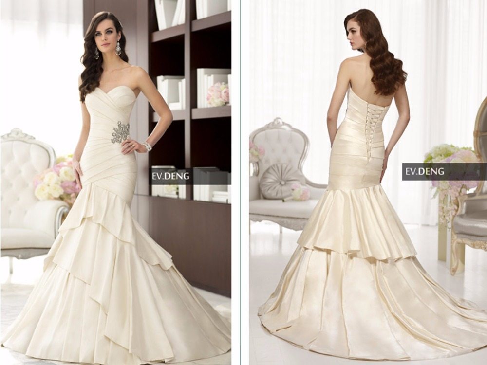 Sexy Mermaid Wedding Dress 2015 Hot Sale Lace Up Tiered Satin Crystal Bride Dresses Bridal Gown Vestido De Noiva Casamento