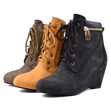 women ankle boots round toe high heels pumps warm wedges lace up shoes woman chaussure zapatos mujer wxz182 стоимость