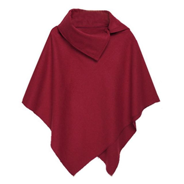 4 Colors Women Coat Poncho Autumn Winter Casual Overcoat Zipper Loose Pullover Cloak Sweater Cape Outwear hc 4