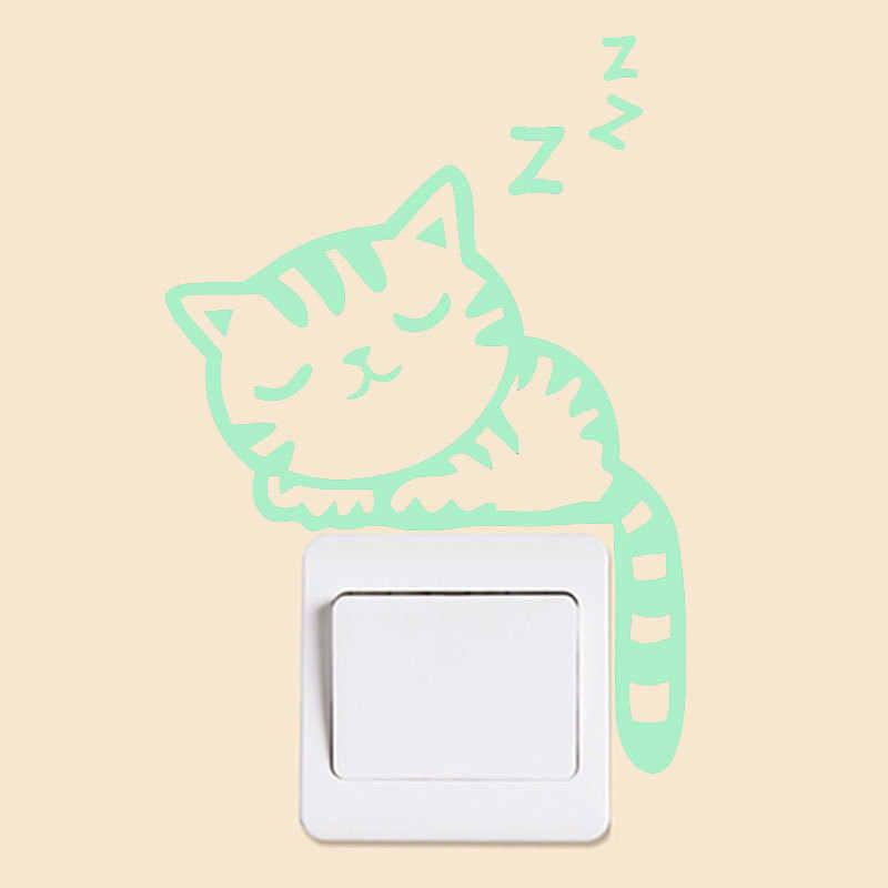 Leucht Cartoon Schalter Aufkleber Glow In The Dark Katze Aufkleber Fluoreszierende Fee Mond Sterne Aufkleber Kinderzimmer Dekoration Liefert