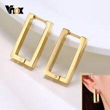 Vnox Minimalist Square Hoop Ohrringe für Frauen, Gold Farbe Edelstahl Rechteck Ohr Schmuck, Chic Einfache Geometrische Schmuck