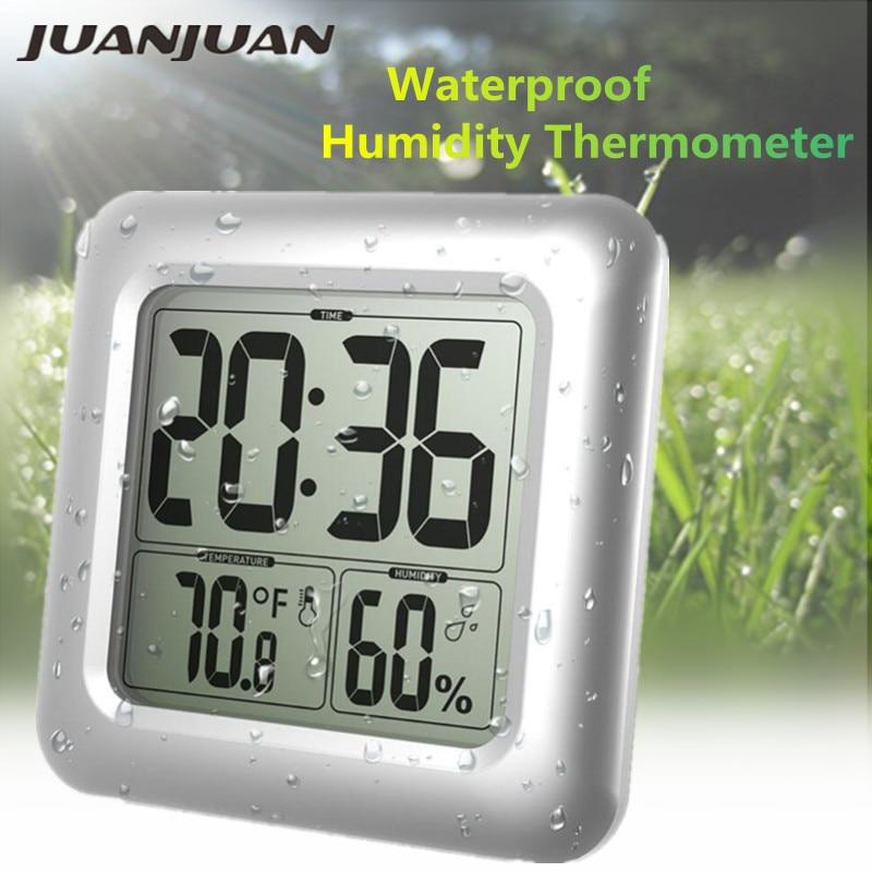 Водонепроницаемые цифровые большие настенные часы для душа Температура Влажность термометр с присоской для ванной кухни 40% скидка