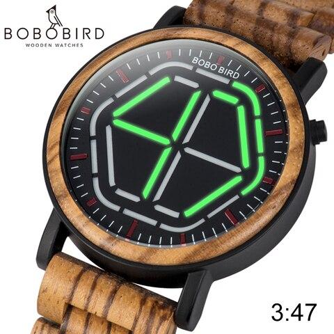 Relógios de Pulso de Digitas com o Presente Especial de Saat Relojes da Relação de Madeira os Relógios de Madeira Originais dos Homens do Pássaro de Bobo de 4 Cores Conduziram Erkek Artigo C-p13