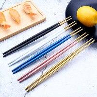 Palillos redondos de acero inoxidable para Sushi, rosa de titanio dorado, colorido, japonés, chino, 304, 6 pares