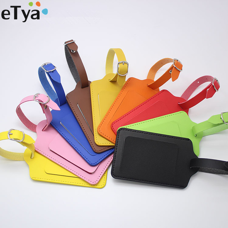 ETya Fashion Travel  Business Luggage Tags  Women Men PU Leather Suitcase ID Address Holder Baggage Boarding Tag