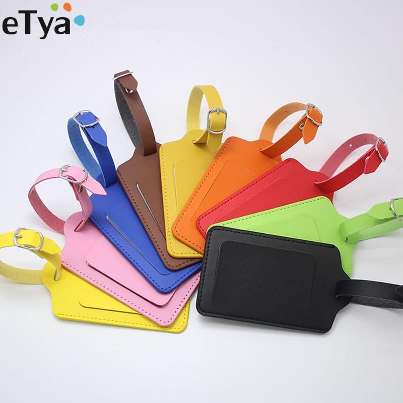 ETya Fashion Travel  Business Luggage Tags  Women Men PU Leather Suitcase ID Address Holder Baggage Boarding Tag