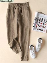 Najnowsza bawełna lniane spodnie damskie eleganckie spodnie lady formalne spodnie plus rozmiar S-5xl znane marki design spodnie bawełniane popularne tanie tanio skoonlado Z bawełny i lnu Spodnie do kostek szarfy CN (pochodzenie) Na wiosnę jesień XYFS013 Stałe Elegancka moda Do biura