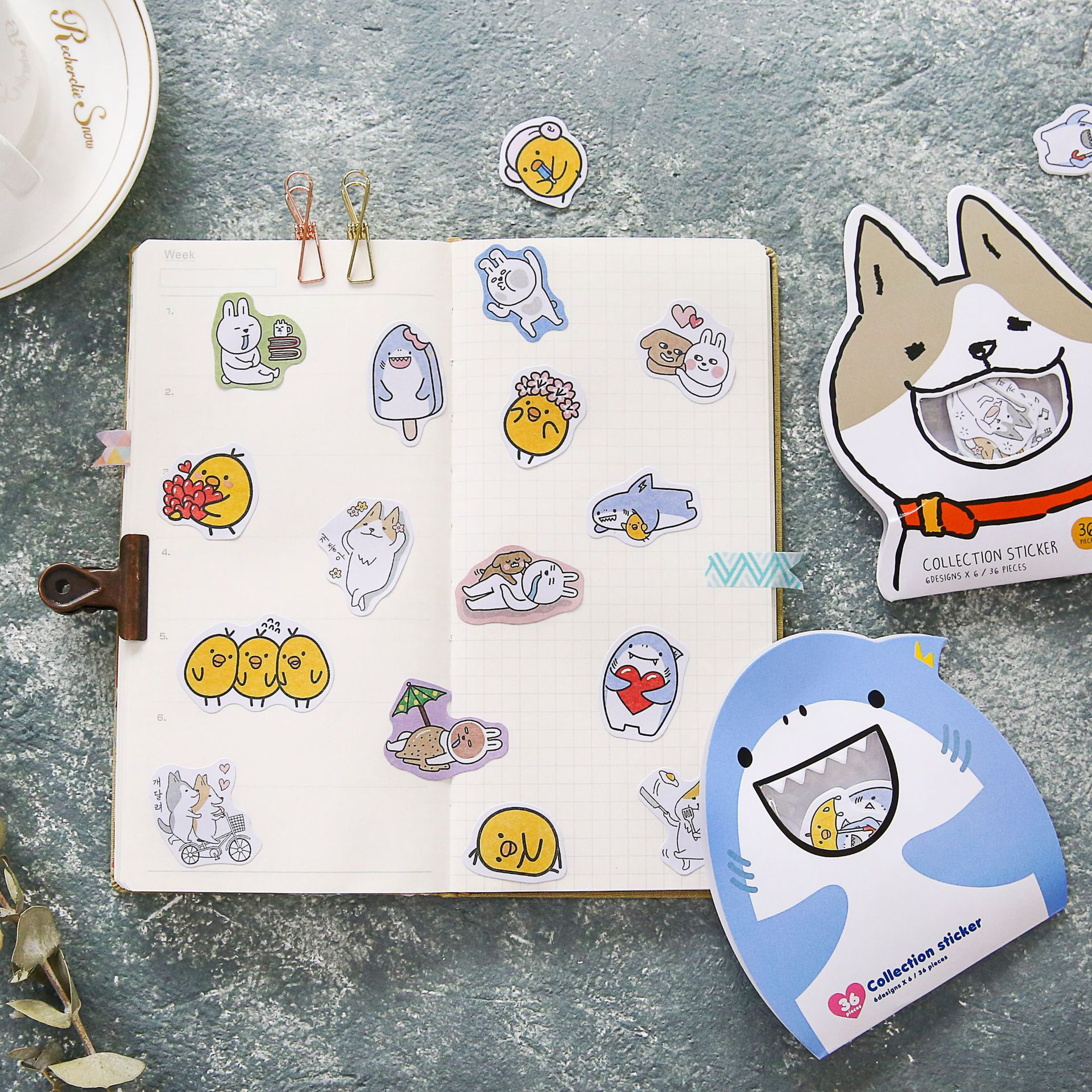 Line Friend Cute PVC Clear Sticker Flakes Kawaii Cartoon Bunny Corgi Shark Stickers Scrapbook Journal Stickers Korean Stationery