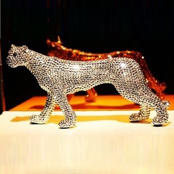 Creative Twinkle Diamonds Leopard Simulation Animal Ceramics Art&Craft Statue Modern Home Decoration Accessories X3670
