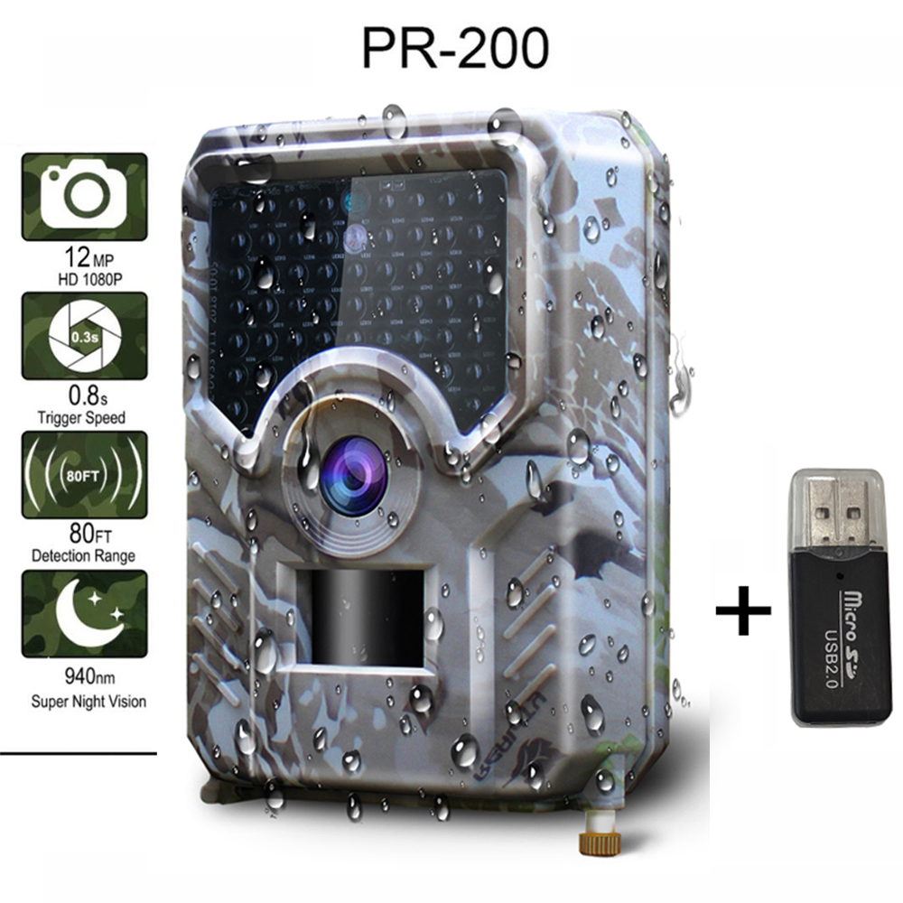 R200 Hunting Camera 12MP 49pcs 940nm Trail Camera Waterproof Infrared Wildlife Camera Night Vision Hunt Photo Trap With SD Card