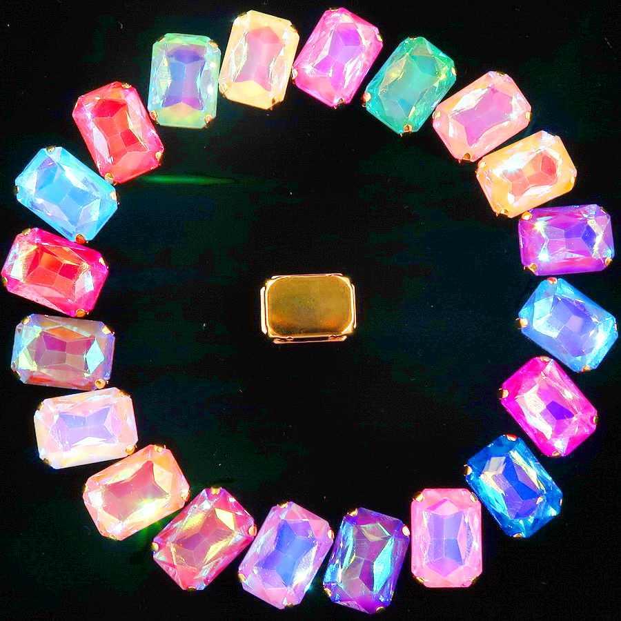 Configuración de garra de oro 20 unids/pack 13x18mm gelatina caramelo y AB color cristal rectángulo forma coser vestido de boda de diamantes de imitación diy