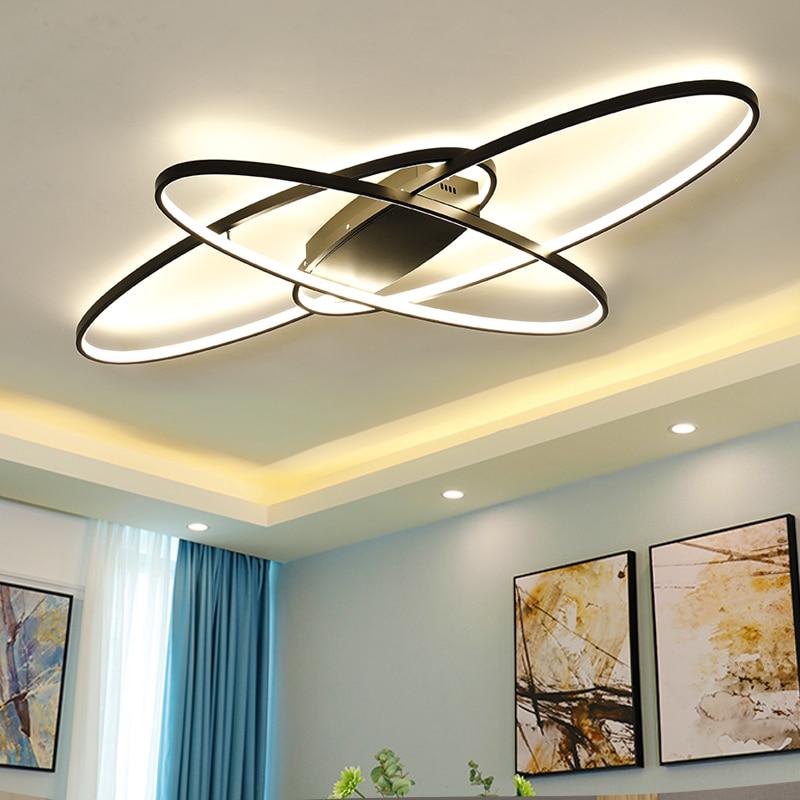 Lâmpada led branca/preta de teto, moderna, para sala de estar, para quarto, para sala de estudo, luminária de teto remoto fixações