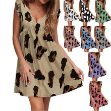2021 American summer dresses new style V-neck lotus leaf short-sleeved leopard printed dress young women clothing cotton LYQ115