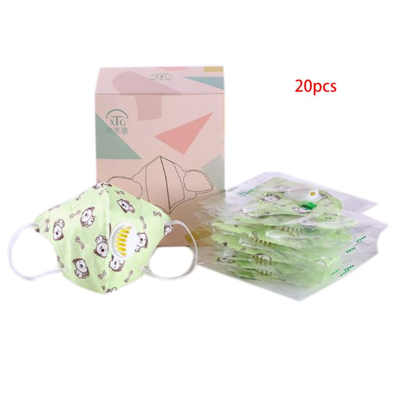 20 Pcs/box Kid Three-dimensional Printing Mask Hanging Ear Type Disposable Masks 35EF