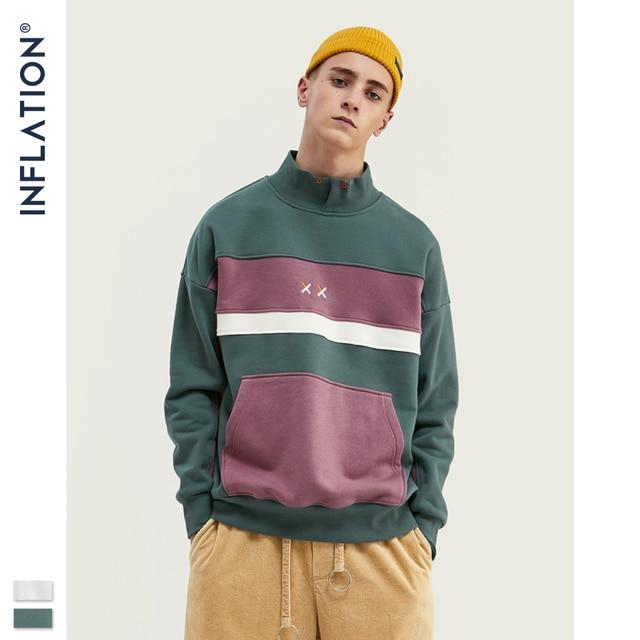 INFLATION Men High collar Sweatshirt Block color Mens Sweatshirt  Pouch Pocket Loose Fit Mens Streetwear Sweatshirt 9645W