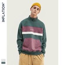 인플레이션 남성 하이 칼라 스웨터 블록 컬러 남성 운동복 파우치 포켓 루즈 피트 망 streetwear 스웨트 9645 w