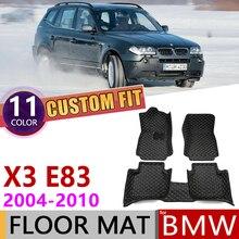 Изготовленные на заказ кожаные автомобильные коврики для BMW X3 E83 2004~ 2010 5 мест Авто коврик для ног коврик ковер автомобильные аксессуары 2005 2006 2007 2008 2009
