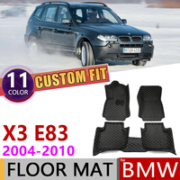 Niestandardowe skórzane dywaniki samochodowe dla BMW X3 E83 2004 ~ 2010 5 miejsc Auto Mat Foot pad dywanik akcesoria 2005 2006 2007 2008 2009 w Naklejki samochodowe od Samochody i motocykle na