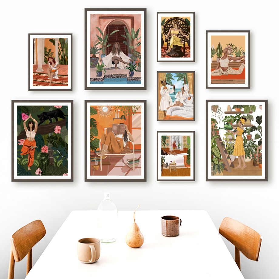 ERTYG P/óster retro de yoga Bikram Yoga Asanas P/óster decorativo Cuadro Cuadro Cuadro Arte de pared P/ósters de Sala de estar Dormitorio Pintura 20 x 30 cm