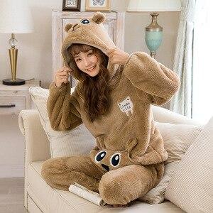 Image 5 - JULYS SONG Cute Winter Flannel Pajamas Set Womens Sleepwear Thick Plush Animal Cartoon Warm Girl Plus Velvet Hooded Homewear
