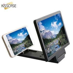 KISSCASE-proyector de teléfono amplificador de vídeo 3D, lupa de pantalla para teléfono, soporte estereoscópico para Teléfono de Escritorio, soporte de soporte para teléfono móvil