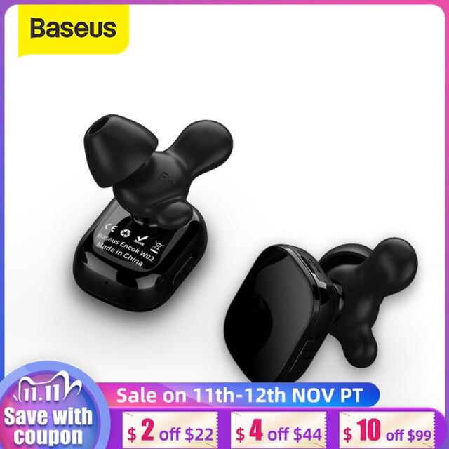 Baseus W02 tws bluetoothイヤホンワイヤレスマイク付きインテリジェントタッチコントロールハンズフリーauriculares電話