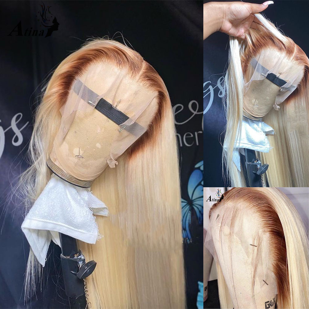 Парик из натуральных волос с эффектом омбре, цветной прямой парик 613 HD, прозрачный, без клея, на сетке, фронтальный парик для черных женщин, пл...