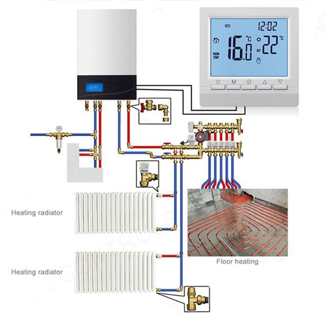 Digitale Boiler Thermostaat Verwarming Elektrische Thermostaat Instelbare Temperatuur Controller Lcd-scherm Thuis Gas Boiler Thermostaat